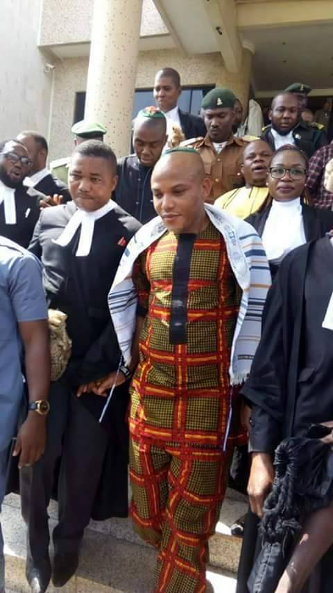 Nnamdi Kanu leaving the court in company of Biafrans