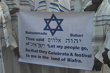 Jewish community in Biafraland standing outside the court in solidarity